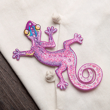 7*12cm Gecko Lizard Clothes Patch DIY Flowered Skeleton Embroidered Patches Iron On Fabric Badges Sew On Cloth Applique