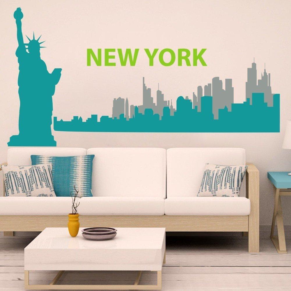 Vinyl New York Wall Decal New York City Wall Sticker New York Skyline Wall Mural Wall Graphic Living Room Art Decor C(liberty:Teal;city1:Teal;city2:Slate Gray;words:Lime-tree Green)