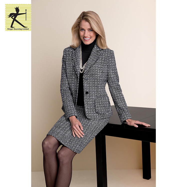 latest ladies blazer designs plus size plaid printed comfortable bocule wool casual women blazer for winter