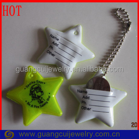 Customized logo printing Five-Pointed Star Reflective keychain identification tags