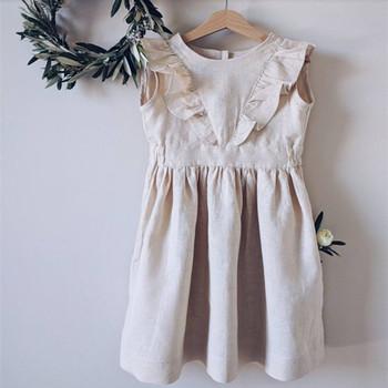2bd8a2eecebff5a 100% натуральный лен сарафан льняное платье Детские платья для девочек