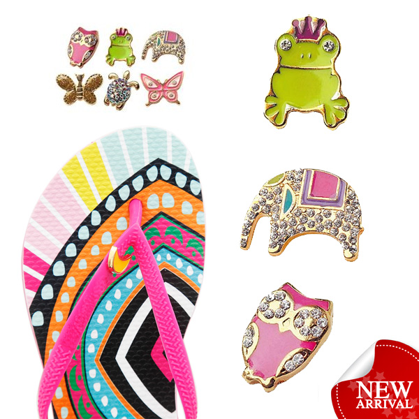 Newly beach custom metal decorative wholesale rhinestone flip flops