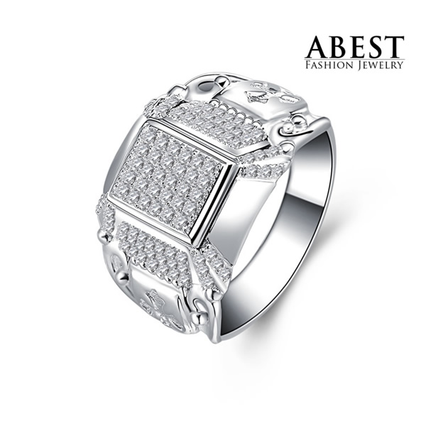 Men's Ring AAA Grade Cubic Zirconia Simulated Diamond Round Cut Sterling 925 Silver Ring Wholesale Jewelry