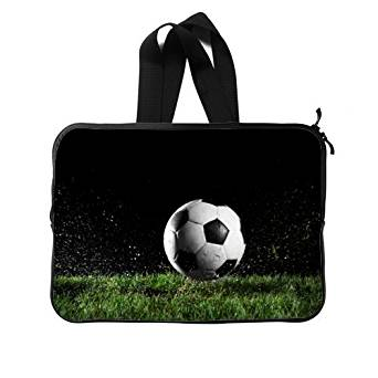 """Cool Soccer Ball 15"""" Inch (Twin Sides) Water Resistant Neoprene Laptop Sleeves / Macbook / Notebook Computer Bag Case Cover"""