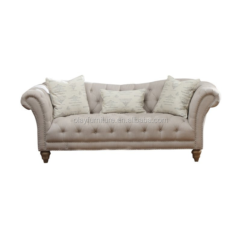 French provincial sofa furniture, beige linen tufted wooden sofa,event furniture wedding sofa