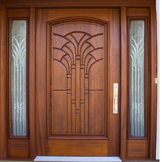Solid Exterior Flat Teak Wood Main Double Front Entry Door