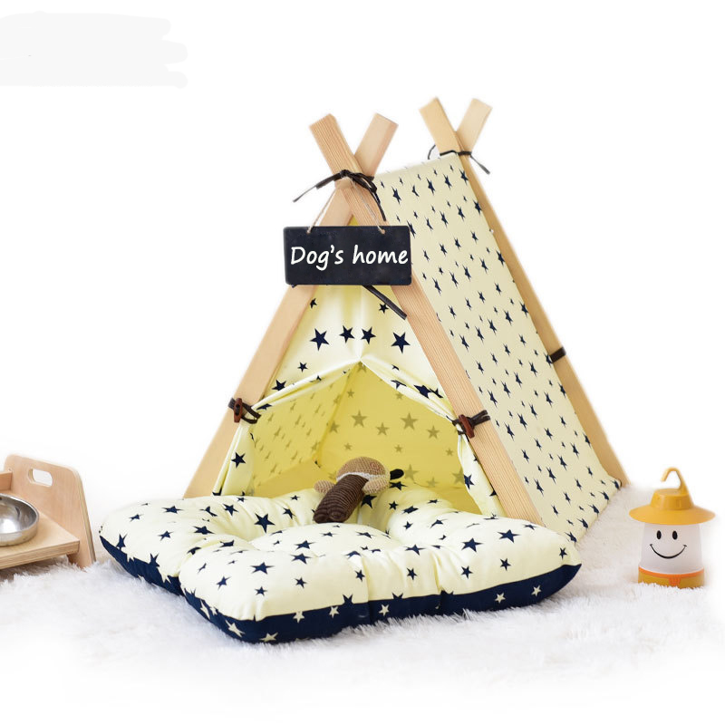 Pet Teepee Bed House Outdoor Folding Dog Cat Tents Dog Tent