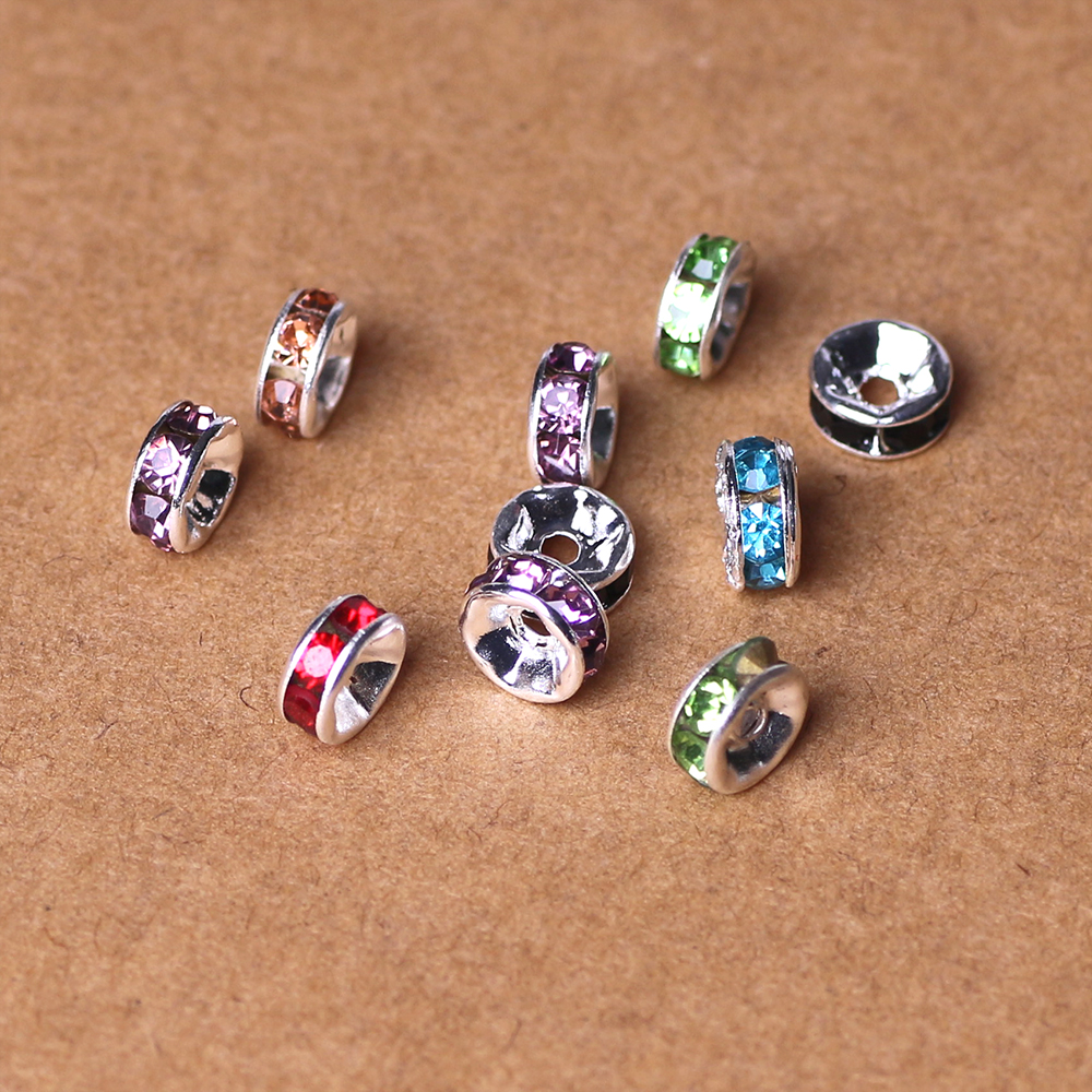 6MM mix color crystal spacer metal hole silver plated flat crystal rondelle rhinestone loose spacer beads for DIY jewelry making