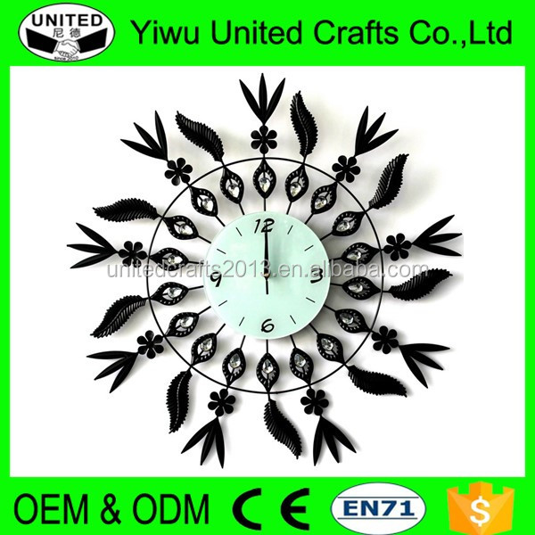 Unique Wall Clocks Quieten Style Black Iron Leaves Large Wall Clock
