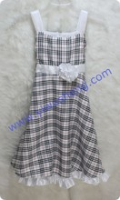 2014 fashion summer cotton flower party baby girls dress designs,Wholesale fashion tartan design with flower dresses for girls