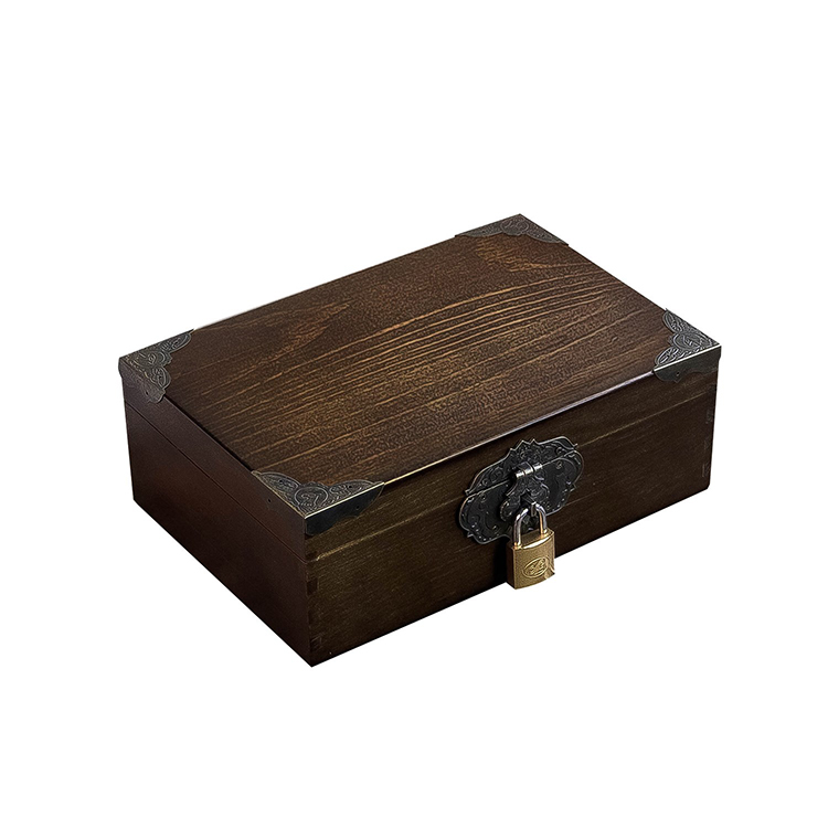 Solid wood with lock small wooden box retro large storage collection wooden box storage box