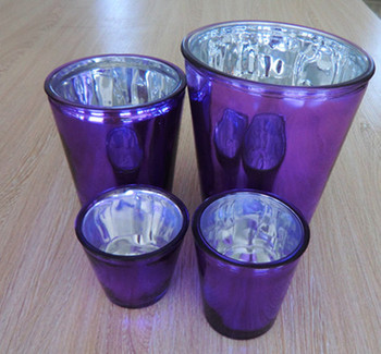 Electroplated Purple Garden Decor Set Of 4 Cheap Glass Flower Plant Pots  Wholesale
