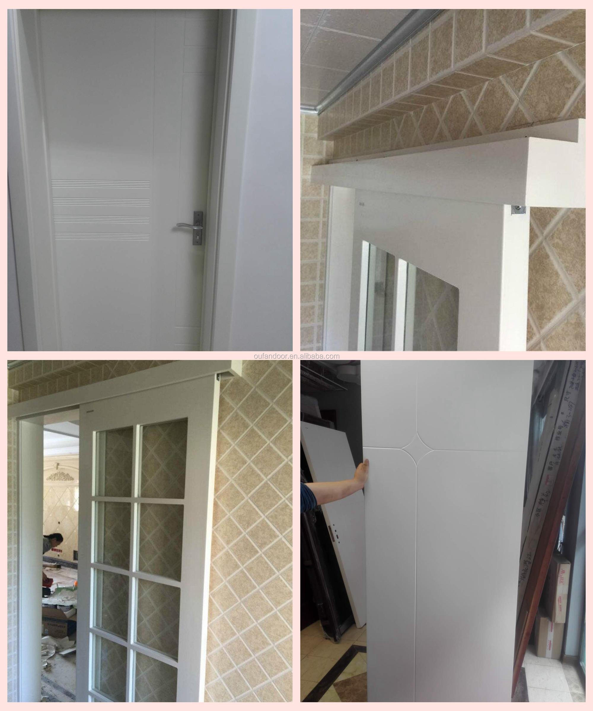 Low cost folding french interior doors with half glass white