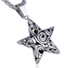 Stainless Steel Plated Charm Chain Necklace Big Silver Engraved Eastern Star Pendants