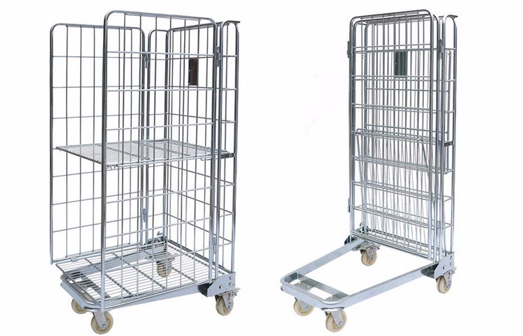 Logistics Warehouse Equipment Metal Roll Cage Folding 4 Wheel Trolley - Buy  Folding 4 Wheel Trolley,Metal Roll Cage,4 Wheel Trolley Product on