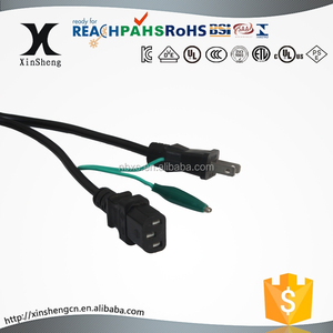 PSE approval IEC C13 with Japan 3-prong plug AC power cord