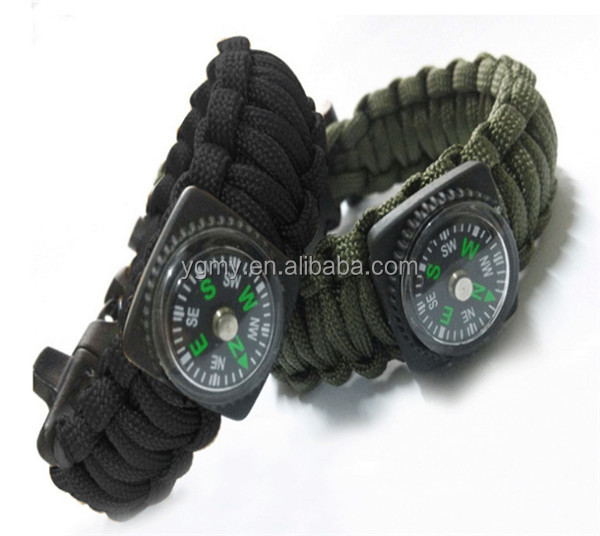 New Outdoor 9 Inches Paracord Survival Bracelet Rope WhistleKits With Compass Flint Fire, Black/army green