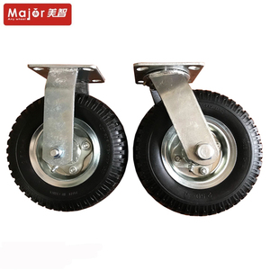 Heavy duty rubber industrial fixed and swivel castors double ball bearings 6 8 10 inch pneumatic caster and wheel