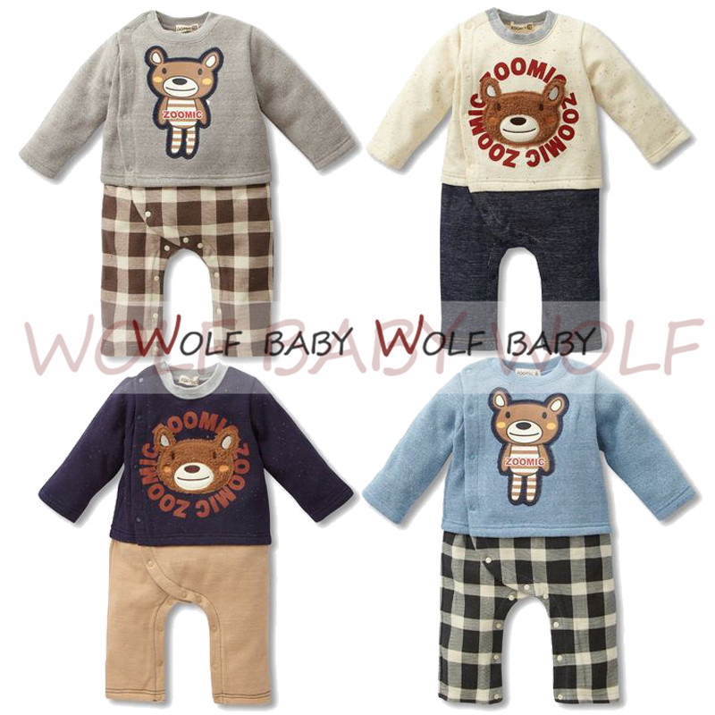 Retail 1 3years 4 patterns long Sleeved Baby boys romper bear grid kids Infant jumpsuits Clothing