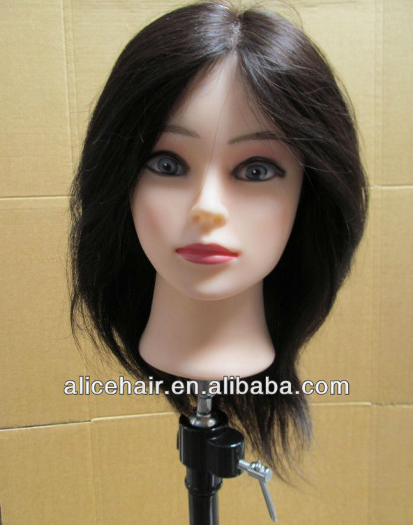 100% human hair black training mannequin head