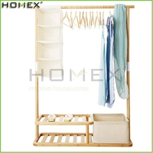 Bamboo Clothing Stand with Fabric Storage Box/Clothing and Coat Rack/Homex_FSC/BSCI Factory