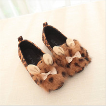 2016 Korean version of Girls Rabbit Fur Bow princess shoes rivets Shoe Kids Children PU Leather