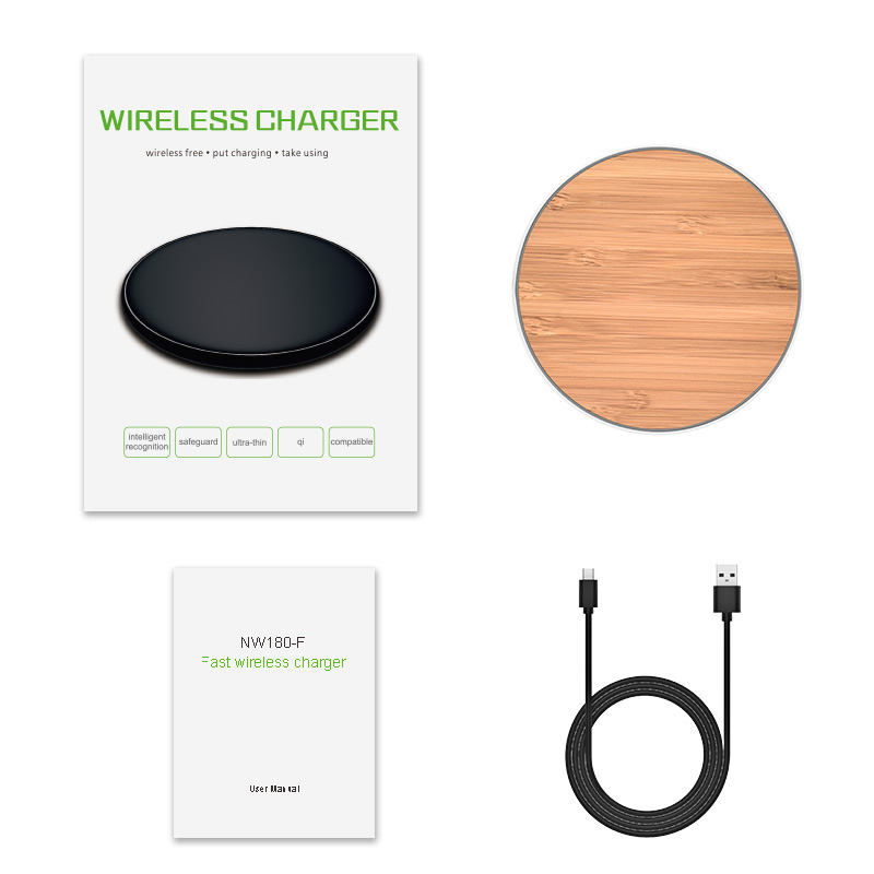 Custom wood wireless charging pad bamboo 5W qi wireless charger