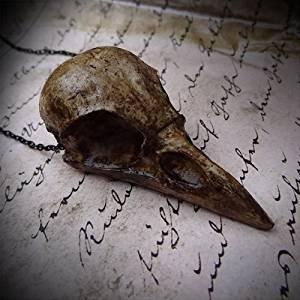 Crow Skull Necklace Cast Resin Replica Magpie Crow Bird Skull Pendant Goth Skull Jewelry