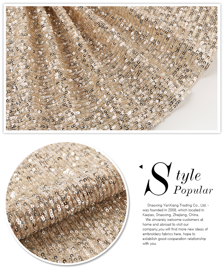 Latest design popular shimmer polyester rose gold sequin embroidery fabric