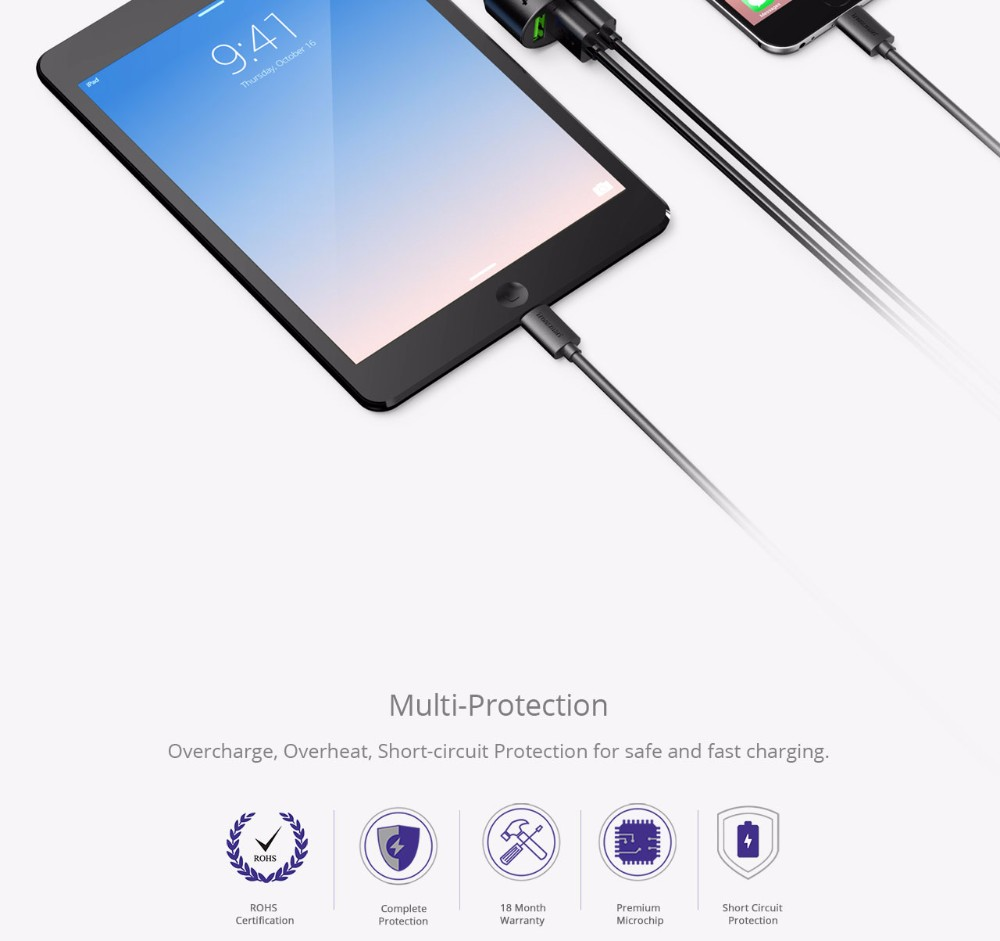[qualcomm Qc3 0] Tronsmart C3pta Car Charger Quick Charger 42w For Xiaomi  Oneplus Samsung S7 Note 7 Lg Asus - Buy Qualcomm Quick Charge 3 0,Smart