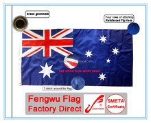 Outdoor 3x6ft 210D embroidered and sewn Australia national flag