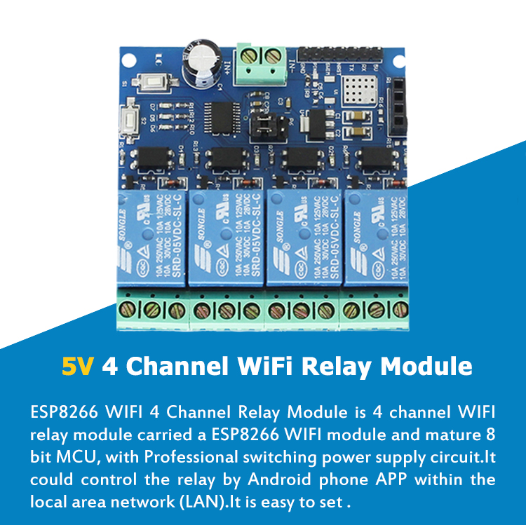 GA2086 ESP8266 ESP-01 5V/12V 4 Channel WiFi Relay Module For Arduinos IOT  Smart Home Phone APP Remote Control Switch, View esp8266 relay, GA Product
