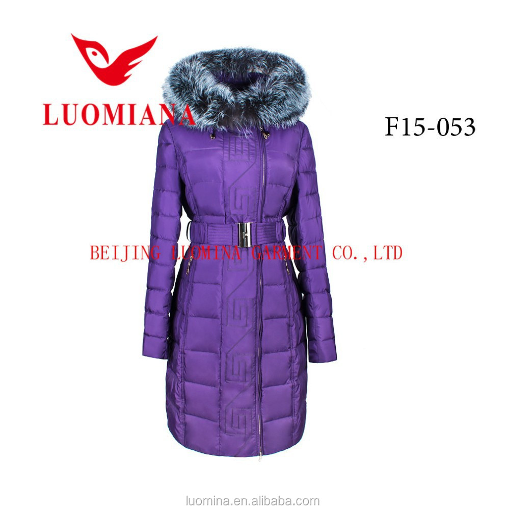 long Belted Feather Down Coat wholesale 2017