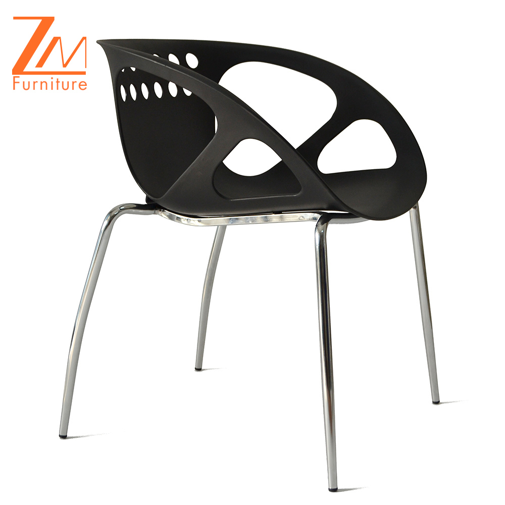 Fashion Mordern Leisure Stacking Chair, Cheap Plastic Chairs with Metal Frame