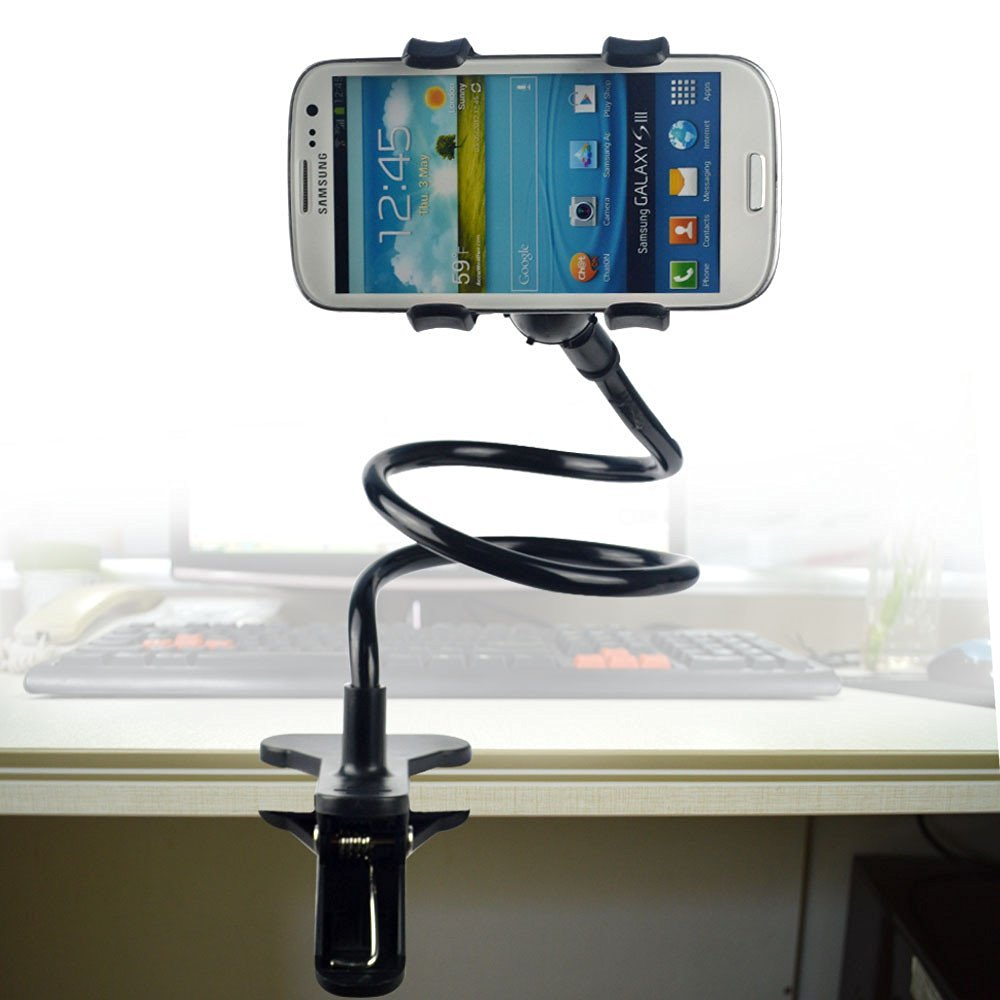 Phone Holder, Micropromo® Black Universal Flexible Long Arm Cell Phone Clip Clamp Lazy Bed Desktop Bracket Stand for iPhone 6/ 6 plus/ 5/ 5S /5C/ 4/ 4S, Samsung Galaxy S6/ S6 edge/ Note4, GPS, PSP