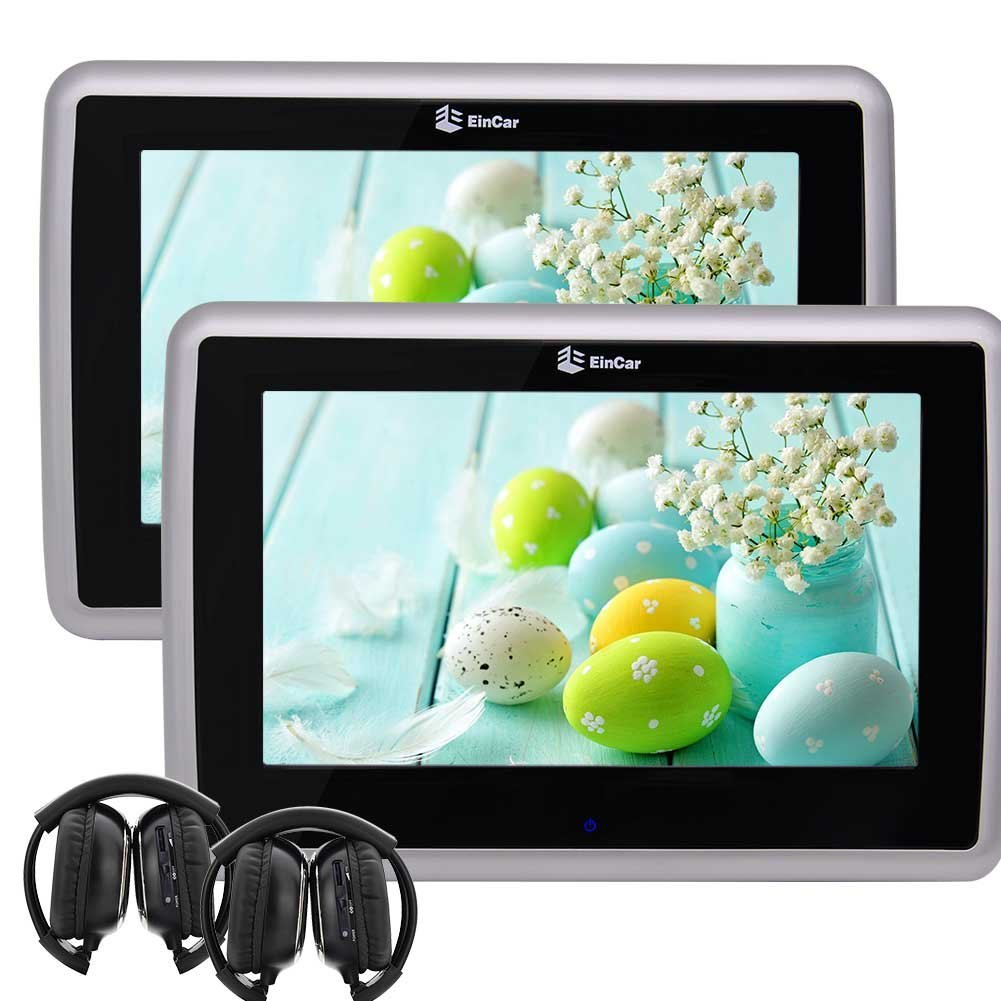 Two Black DVD Player 9 Inch HD Touch Screen 1024x600 Car Headrest Monitor EinCar Backseat Monitor Support IR/FM Transmitter USB/SD 1080p Video with Pair of headphone
