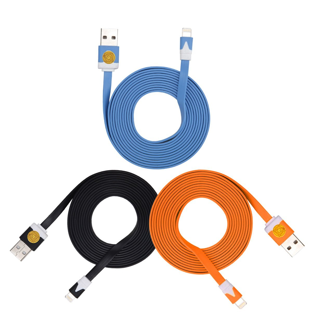 2M Heavy Duty Flat Noodle Lightning USB Cable for Apple iPhone 6,6S -Blk Blu Org