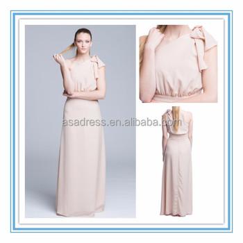 2015 Modern Peach One-shoulder Bridesmaid Gown Floor Length Elegant ...