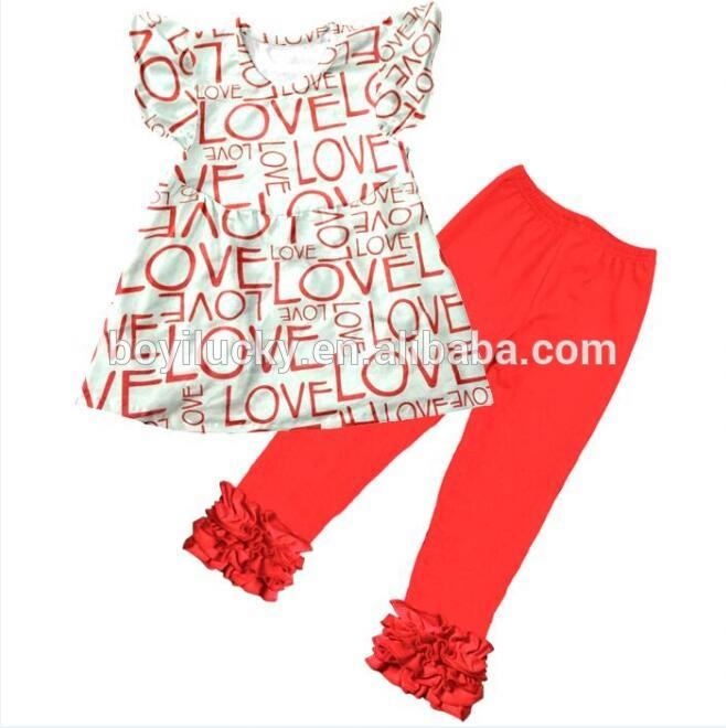 Valentine's Day children clothing love pattern baby wholesale boutique children's product for wear
