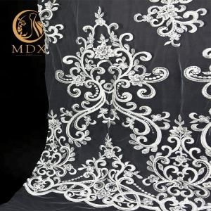 Factory Direct Price White Bridal Dresses Sequins Lace Fabric
