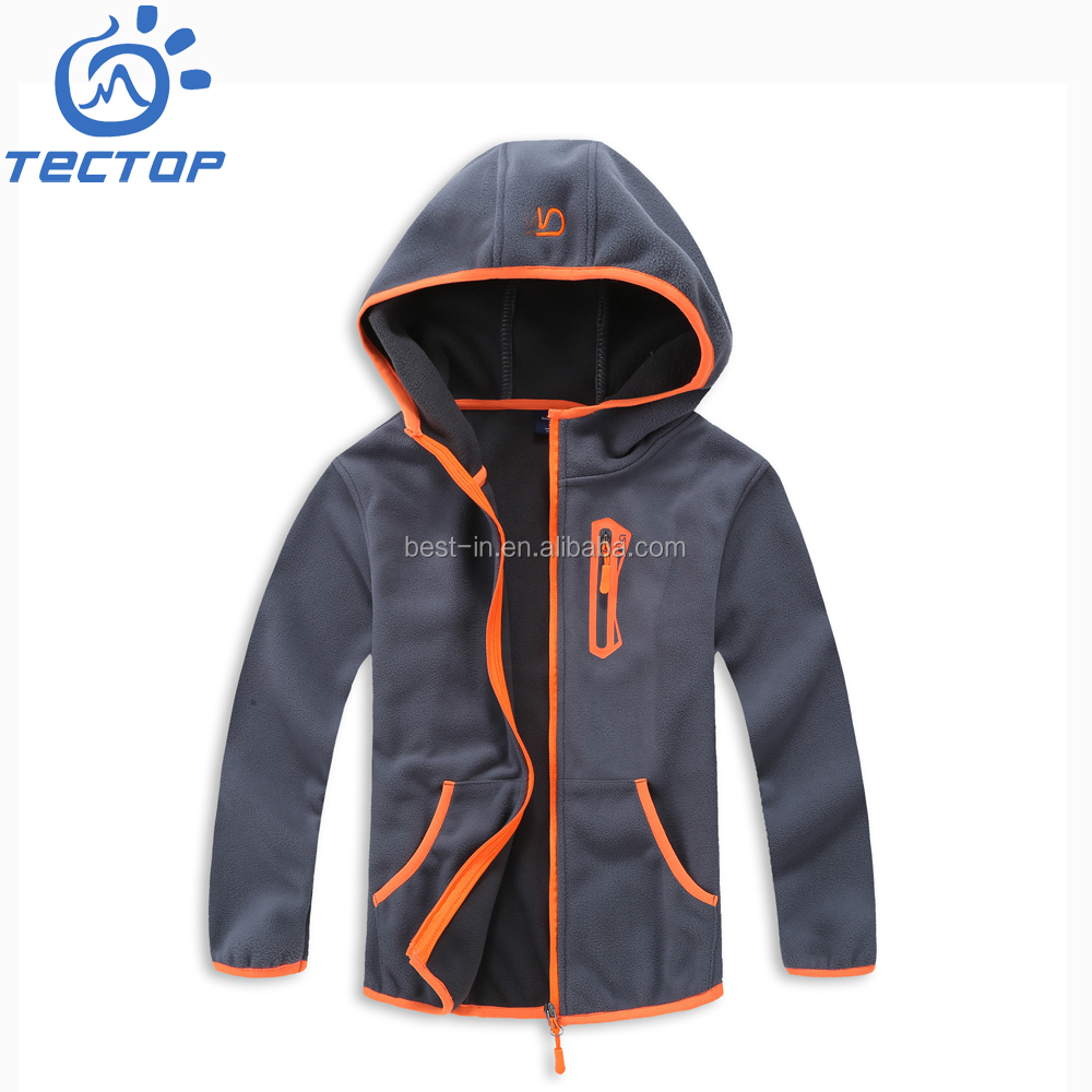 Polar Fleece Jacket Zip Up Kids Customized Sweater With Hood
