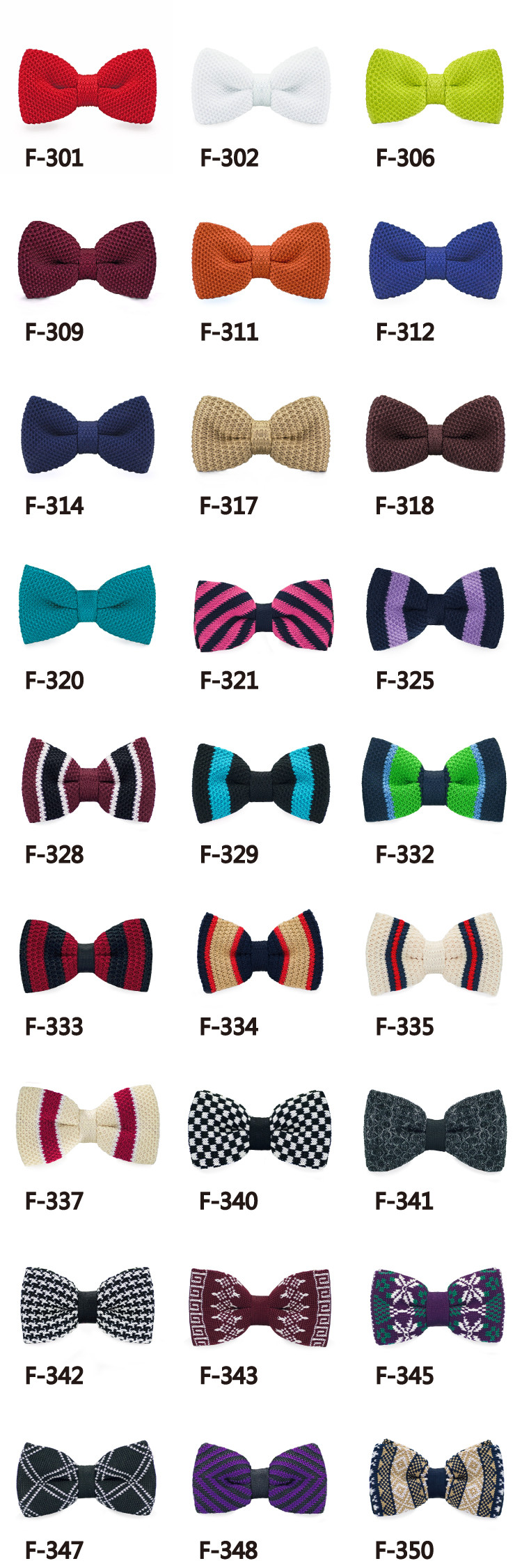 Wholesale Knitted Polyester Striped Checked Plain Dyed Bow tie for Men