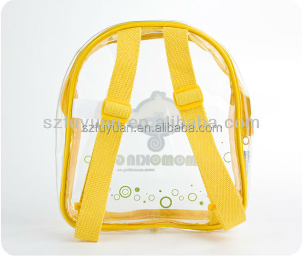 Traveling low price waterproof kids clear transparent pvc backpack for hoilday