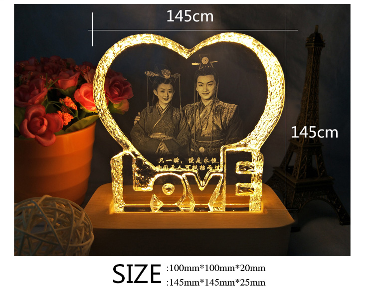 Wholesale Customized K9 crystal glass wedding love and heart shaped ornament photo frames for Wedding Gifts Lovely guests