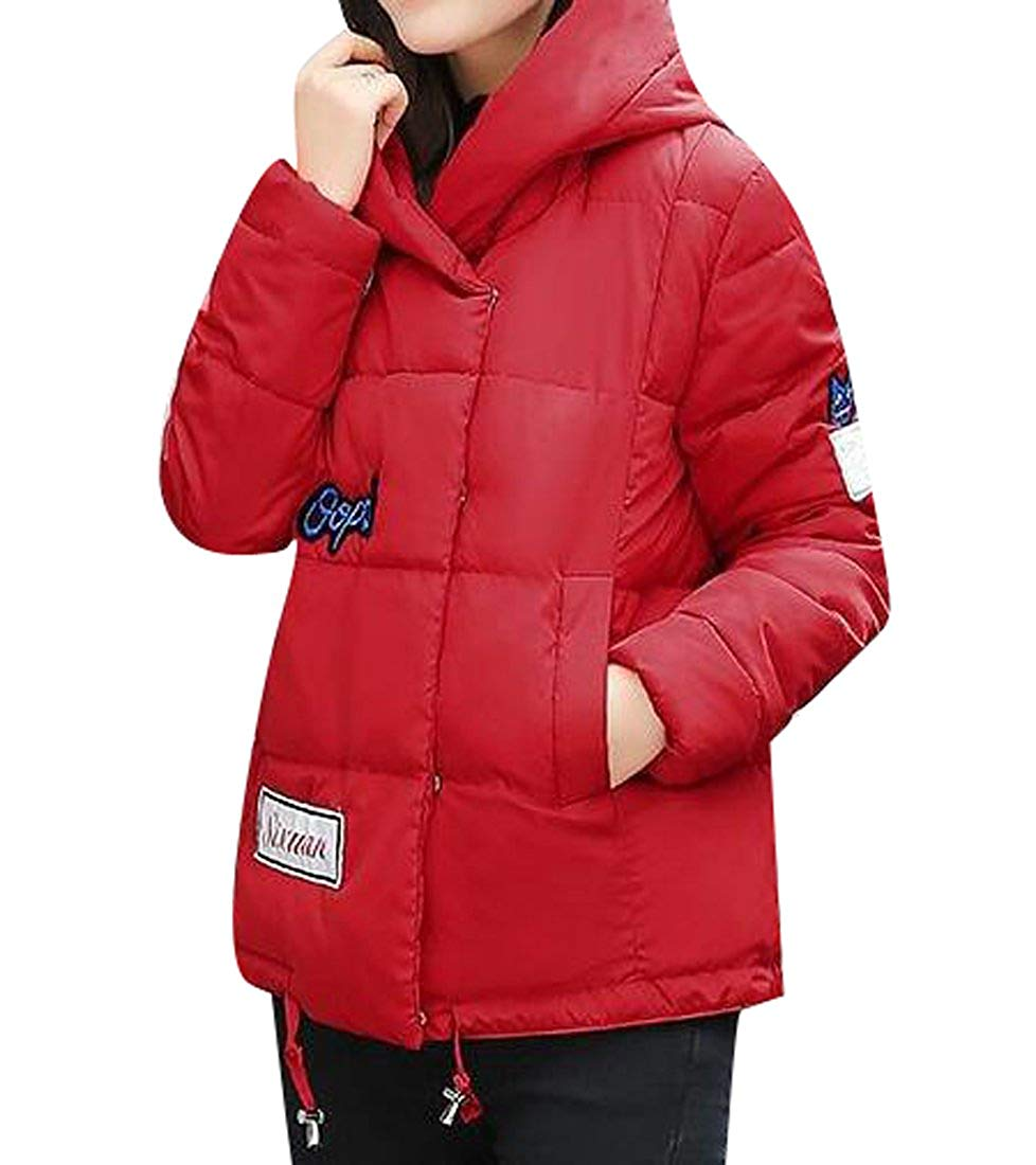 SYTX Womens Winter Hooded Print Down Quilted Jacket Quilted Coat Outerwear