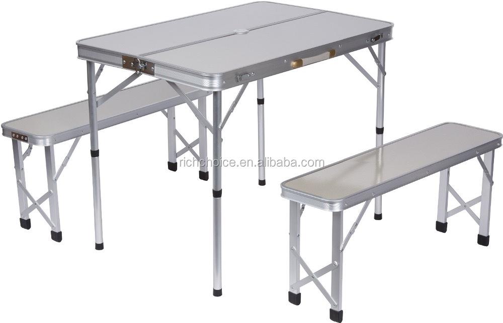 Portable Aluminum Folding Picnic Table With 2 Bench Seats Umbrella Outdoor Garden Camping