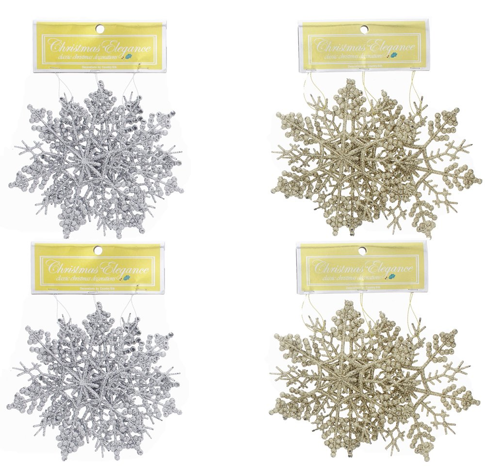 """Elegant Fancy Christmas Holiday Shimmering Sparkling Glitter Snowflake Ornaments, Gold & Silver, Medium, 12 Count, 5.5"""""""