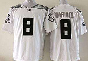 a2813a77a Get Quotations · EVEBEST NCAA Football Oregon Ducks NO.8 Mariota Men s  Jersey NCAA White Men s Oregon Ducks