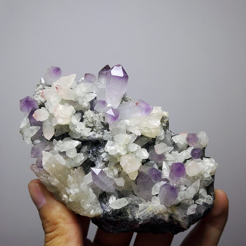 330g NATURAL Stones and Minerals Rock Amethyst Purple Crystal WHITE Calcite  symbiosis RARE ORE UNIQUE Perfect Specimens - us126 9faf3d8d40