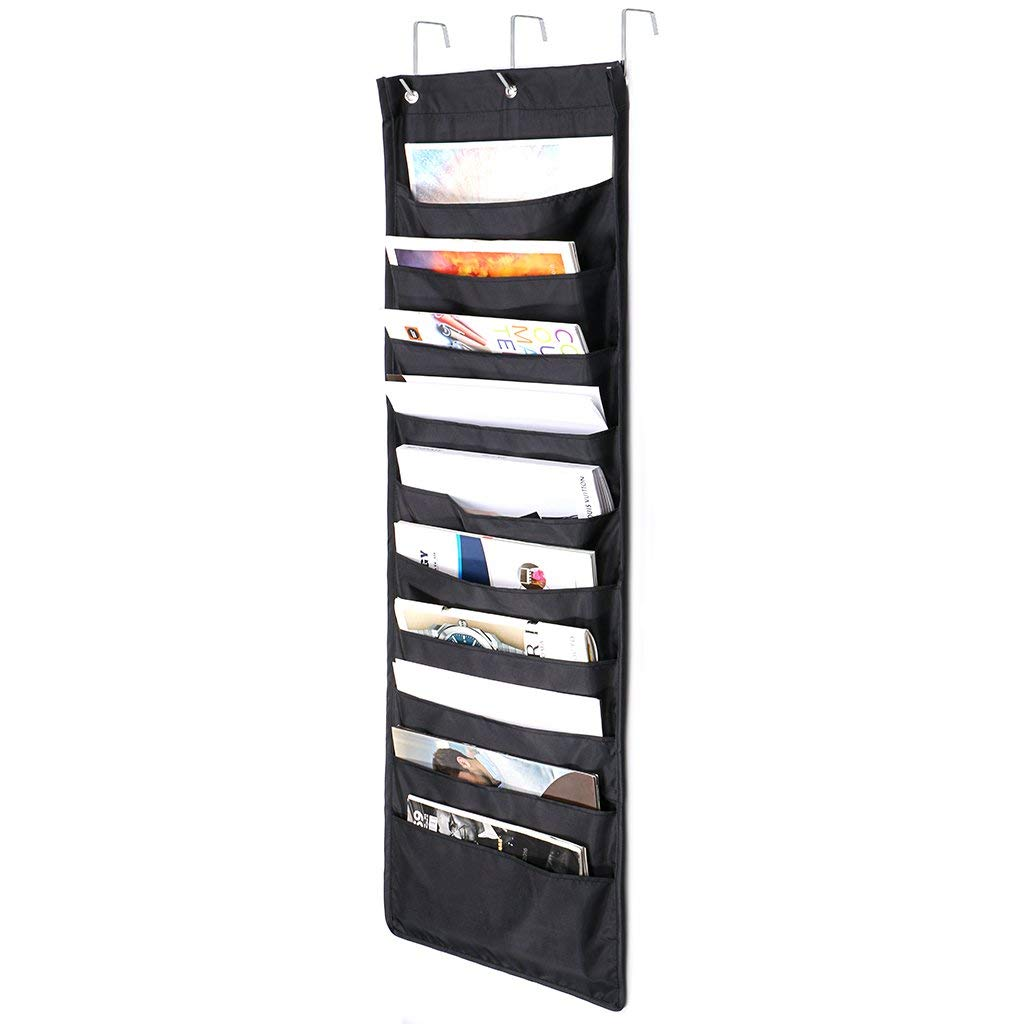 Hipiwe Over The Door Hanging File/Folder Organizer,10 Pockets Wall Cascading Storage Holder Chart for Office Bill Filing, Home Organization, Classroom,School,with 3 Over Door Hangers (Black)